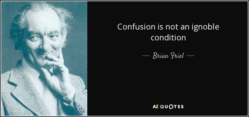 Confusion is not an ignoble condition - Brian Friel