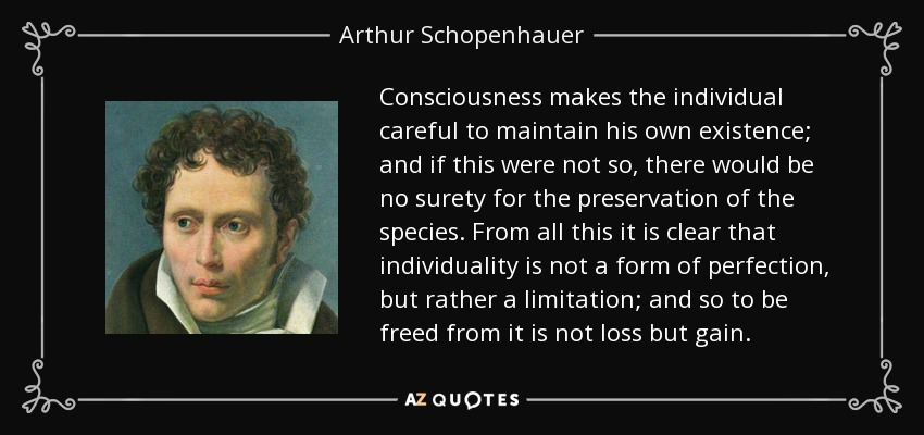 Consciousness makes the individual careful to maintain his own existence; and if this were not so, there would be no surety for the preservation of the species. From all this it is clear that individuality is not a form of perfection, but rather a limitation; and so to be freed from it is not loss but gain. - Arthur Schopenhauer