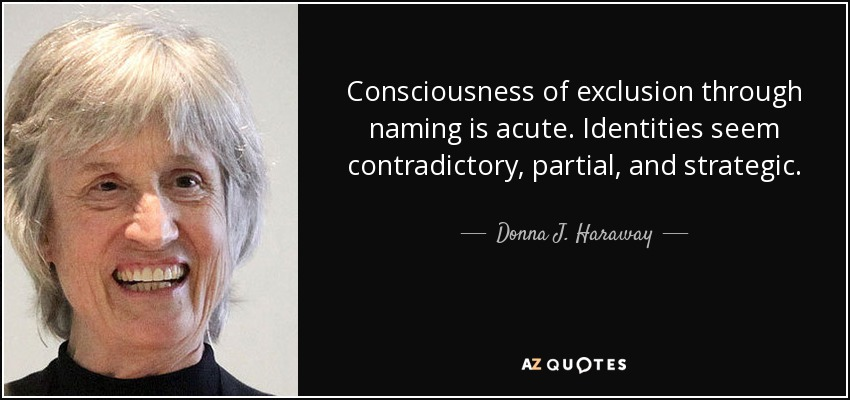 Consciousness of exclusion through naming is acute. Identities seem contradictory, partial, and strategic. - Donna J. Haraway