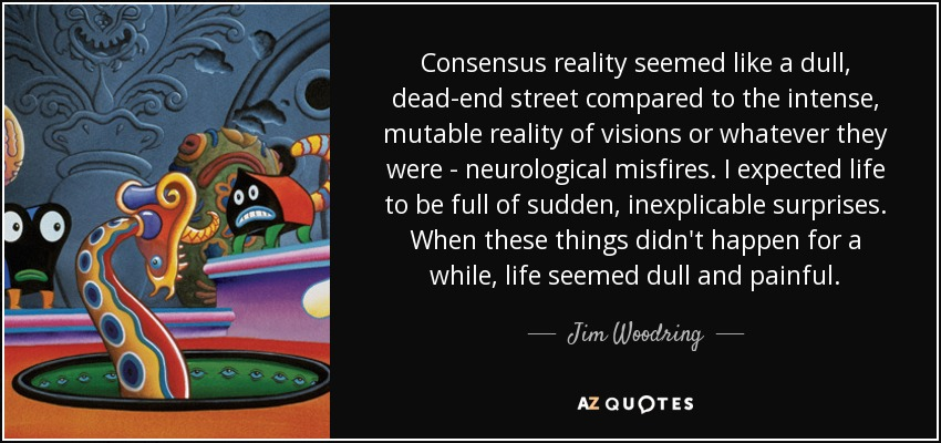 Consensus reality seemed like a dull, dead-end street compared to the intense, mutable reality of visions or whatever they were - neurological misfires. I expected life to be full of sudden, inexplicable surprises. When these things didn't happen for a while, life seemed dull and painful. - Jim Woodring