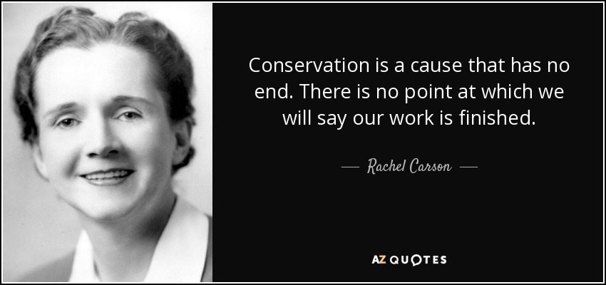 Conservation is a cause that has no end. There is no point at which we will say our work is finished. - Rachel Carson