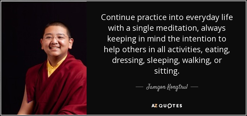 Continue practice into everyday life with a single meditation, always keeping in mind the intention to help others in all activities, eating, dressing, sleeping, walking, or sitting. - Jamgon Kongtrul