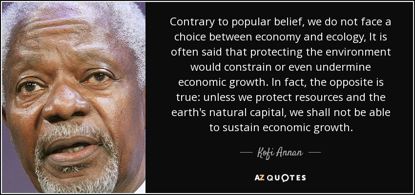 Contrary to popular belief, we do not face a choice between economy and ecology, It is often said that protecting the environment would constrain or even undermine economic growth. In fact, the opposite is true: unless we protect resources and the earth's natural capital, we shall not be able to sustain economic growth. - Kofi Annan