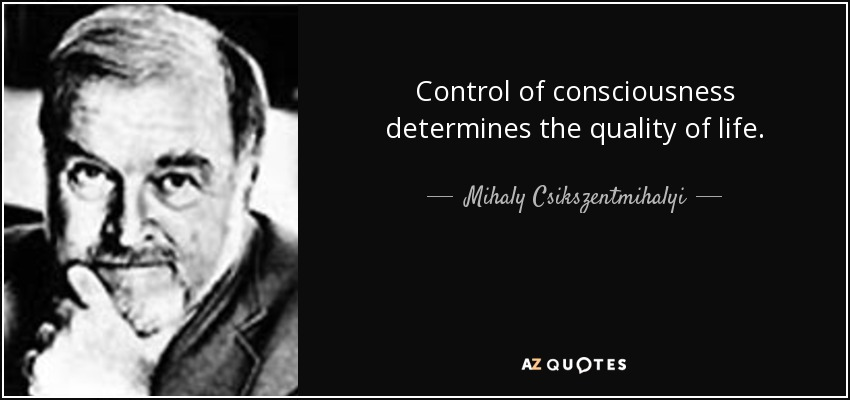 Control of consciousness determines the quality of life. - Mihaly Csikszentmihalyi