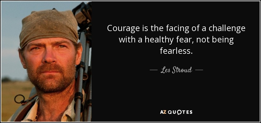 Courage is the facing of a challenge with a healthy fear, not being fearless. - Les Stroud