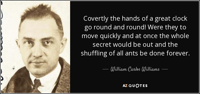 Covertly the hands of a great clock go round and round! Were they to move quickly and at once the whole secret would be out and the shuffling of all ants be done forever. - William Carlos Williams