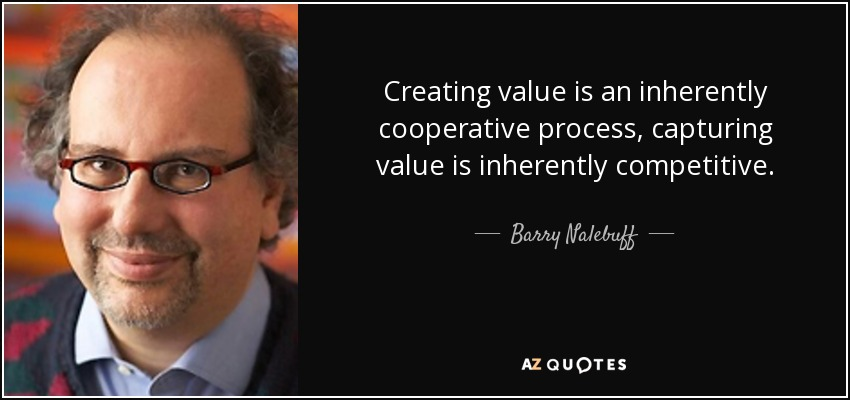 Creating value is an inherently cooperative process, capturing value is inherently competitive. - Barry Nalebuff