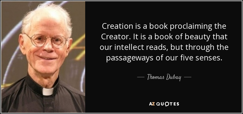 Creation is a book proclaiming the Creator. It is a book of beauty that our intellect reads, but through the passageways of our five senses. - Thomas Dubay