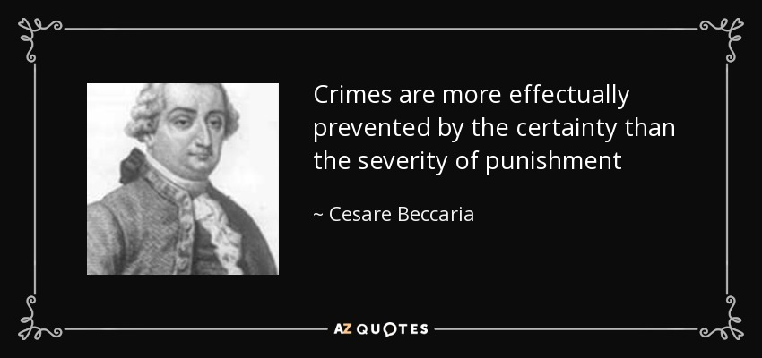essay on crimes and punishments by cesare beccaria Enlightenment thinker cesare beccaria produced work on criminology famous people named cesare most famous and influential essay, on crimes and punishments.