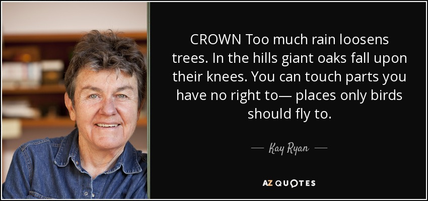CROWN Too much rain loosens trees. In the hills giant oaks fall upon their knees. You can touch parts you have no right to— places only birds should fly to. - Kay Ryan