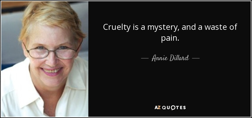 Cruelty is a mystery, and a waste of pain. - Annie Dillard