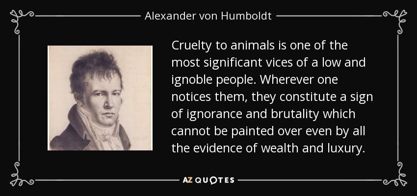 Cruelty to animals is one of the most significant vices of a low and ignoble people. Wherever one notices them, they constitute a sign of ignorance and brutality which cannot be painted over even by all the evidence of wealth and luxury. - Alexander von Humboldt