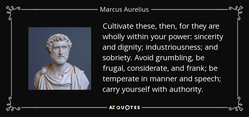 Cultivate these, then, for they are wholly within your power: sincerity and dignity; industriousness; and sobriety. Avoid grumbling, be frugal, considerate, and frank; be temperate in manner and speech; carry yourself with authority. - Marcus Aurelius