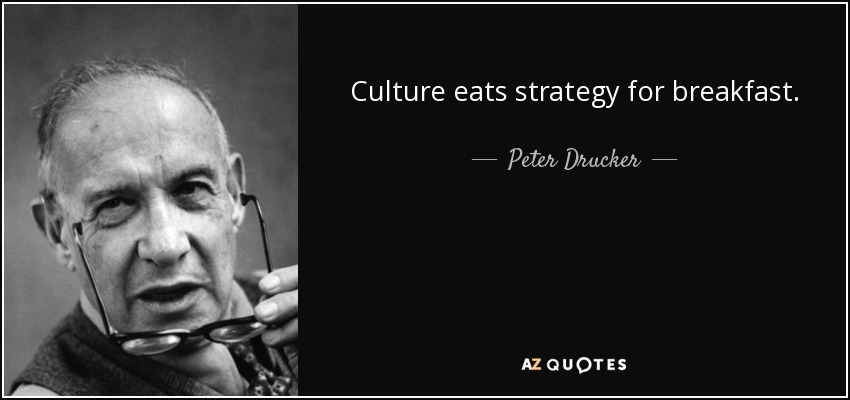 Culture eats strategy for breakfast. - Peter Drucker