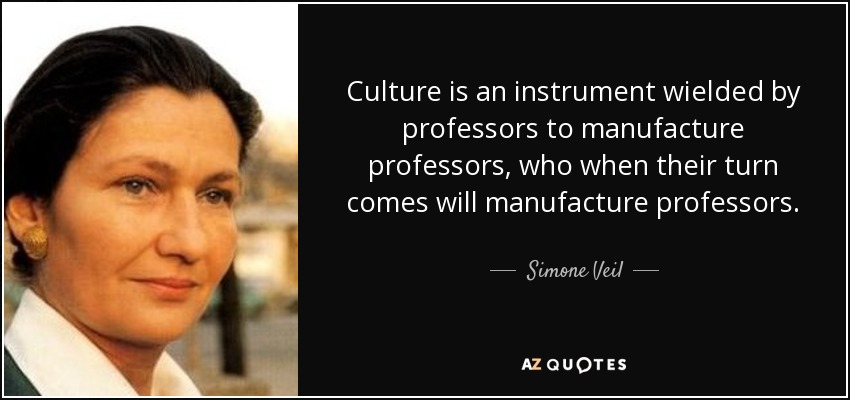 Culture is an instrument wielded by professors to manufacture professors, who when their turn comes will manufacture professors. - Simone Veil