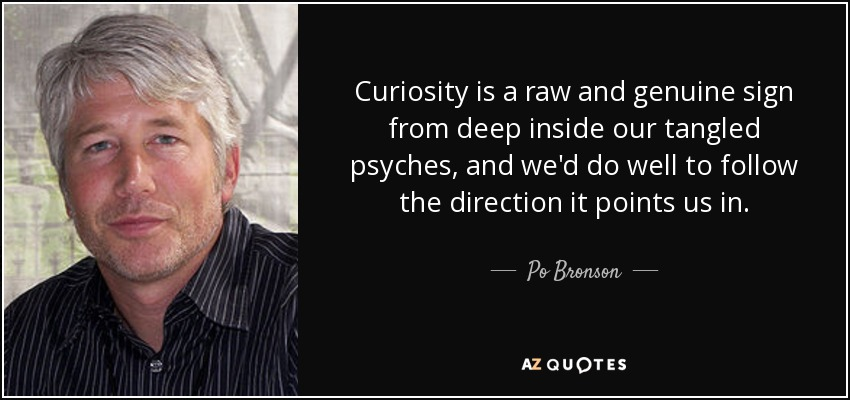 Curiosity is a raw and genuine sign from deep inside our tangled psyches, and we'd do well to follow the direction it points us in. - Po Bronson