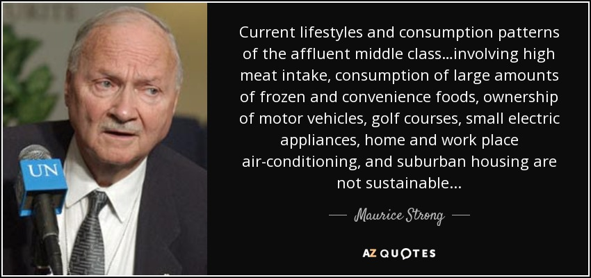 Current lifestyles and consumption patterns of the affluent middle class…involving high meat intake, consumption of large amounts of frozen and convenience foods, ownership of motor vehicles, golf courses, small electric appliances, home and work place air-conditioning, and suburban housing are not sustainable... - Maurice Strong