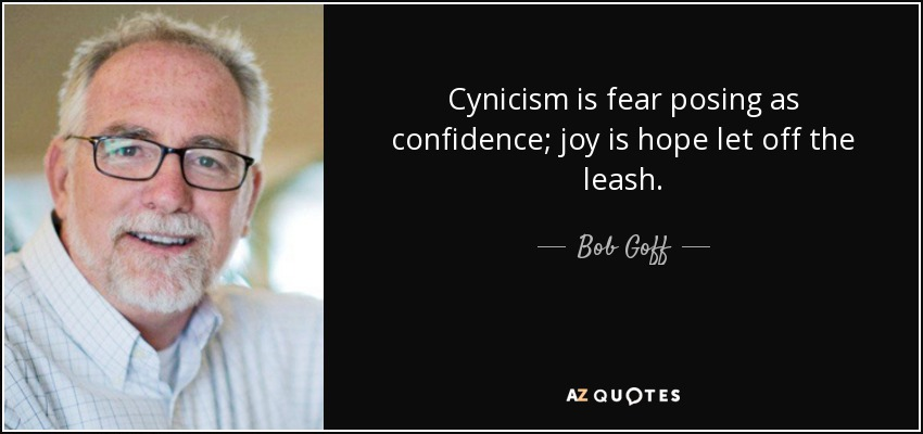 Cynicism is fear posing as confidence; joy is hope let off the leash. - Bob Goff