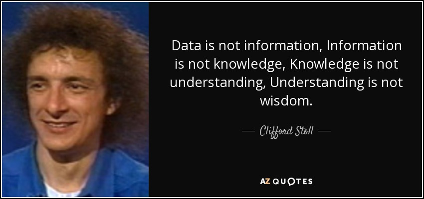 Data is not information, Information is not knowledge, Knowledge is not understanding, Understanding is not wisdom. - Clifford Stoll