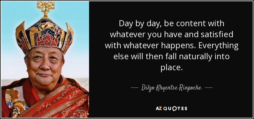 Day by day, be content with whatever you have and satisfied with whatever happens. Everything else will then fall naturally into place. - Dilgo Khyentse Rinpoche