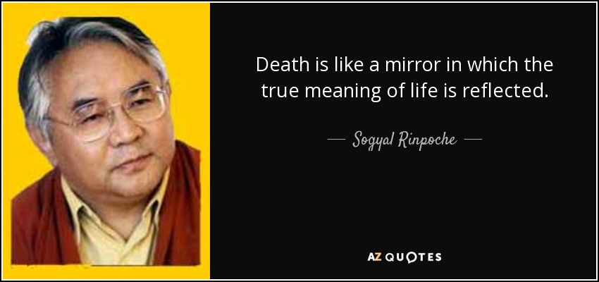 Death is like a mirror in which the true meaning of life is reflected. - Sogyal Rinpoche
