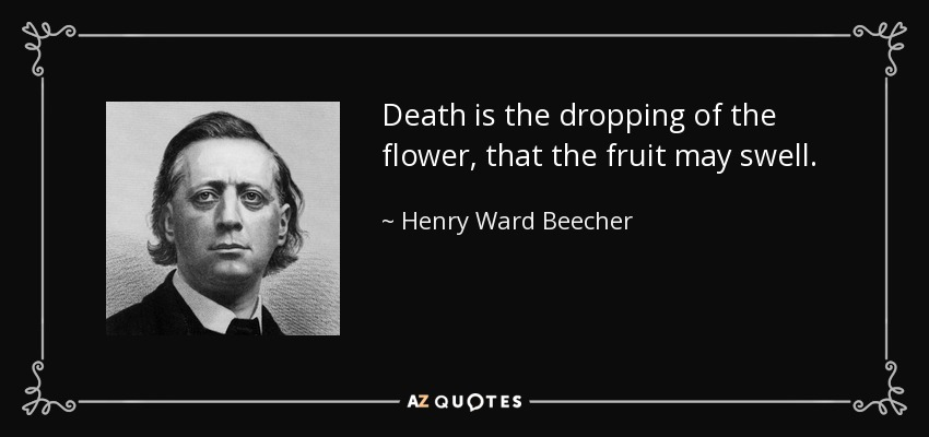 Death is the dropping of the flower, that the fruit may swell. - Henry Ward Beecher