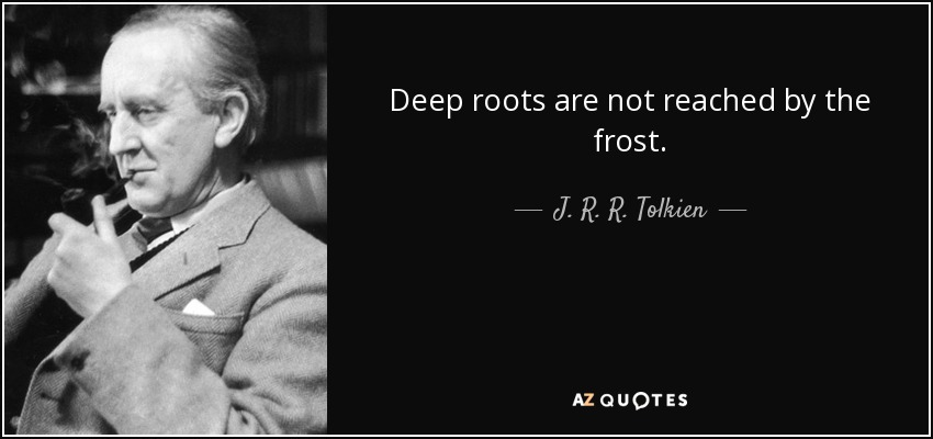 Deep roots are not reached by the frost. - J. R. R. Tolkien