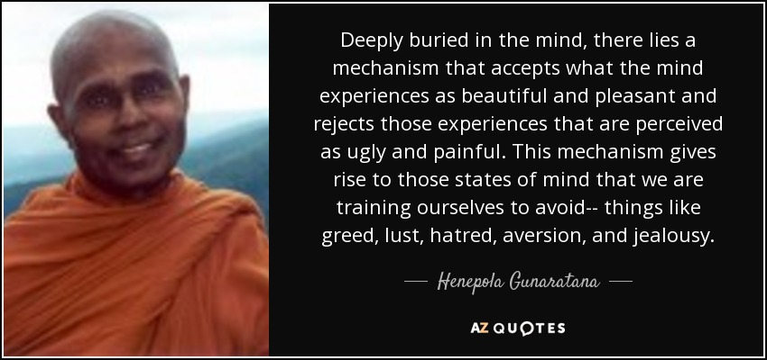 Deeply buried in the mind, there lies a mechanism that accepts what the mind experiences as beautiful and pleasant and rejects those experiences that are perceived as ugly and painful. This mechanism gives rise to those states of mind that we are training ourselves to avoid-- things like greed, lust, hatred, aversion, and jealousy. - Henepola Gunaratana