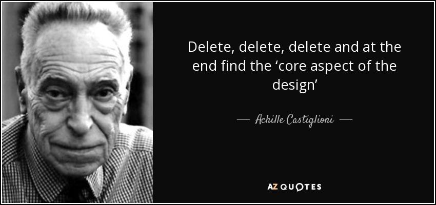 achille castiglioni quote delete delete delete and at. Black Bedroom Furniture Sets. Home Design Ideas