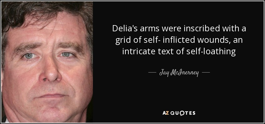 Delia's arms were inscribed with a grid of self- inflicted wounds, an intricate text of self-loathing - Jay McInerney