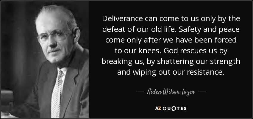 Deliverance can come to us only by the defeat of our old life. Safety and peace come only after we have been forced to our knees. God rescues us by breaking us, by shattering our strength and wiping out our resistance. - Aiden Wilson Tozer