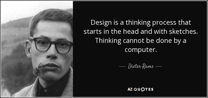 dieter rams quote design is a thinking process that starts in the