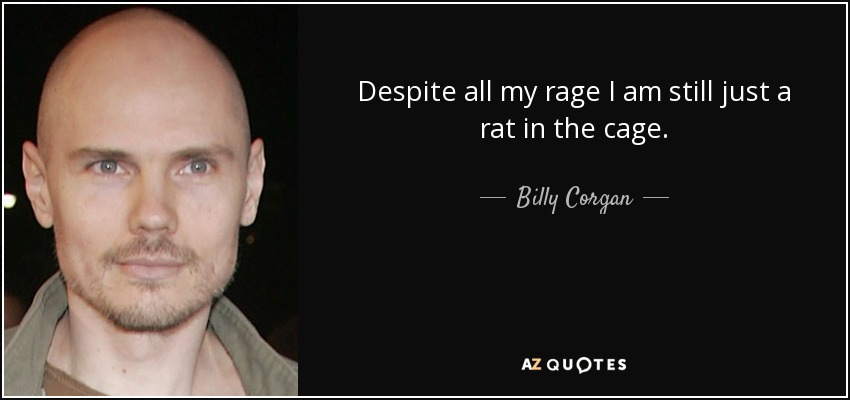 Despite all my rage I am still just a rat in the cage. - Billy Corgan