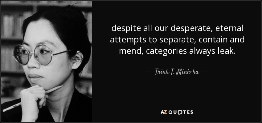 despite all our desperate, eternal attempts to separate, contain and mend, categories always leak. - Trinh T. Minh-ha