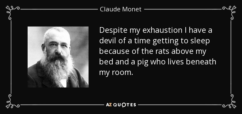 Despite my exhaustion I have a devil of a time getting to sleep because of the rats above my bed and a pig who lives beneath my room. - Claude Monet