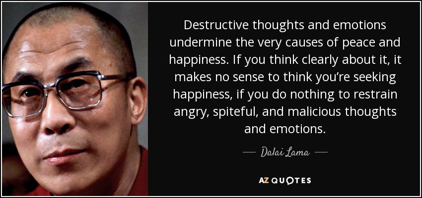 Destructive thoughts and emotions undermine the very causes of peace and happiness. If you think clearly about it, it makes no sense to think you're seeking happiness, if you do nothing to restrain angry, spiteful, and malicious thoughts and emotions. - Dalai Lama