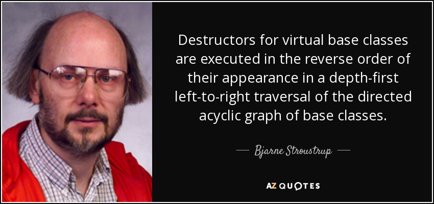 Destructors for virtual base classes are executed in the reverse order of their appearance in a depth-first left-to-right traversal of the directed acyclic graph of base classes. - Bjarne Stroustrup