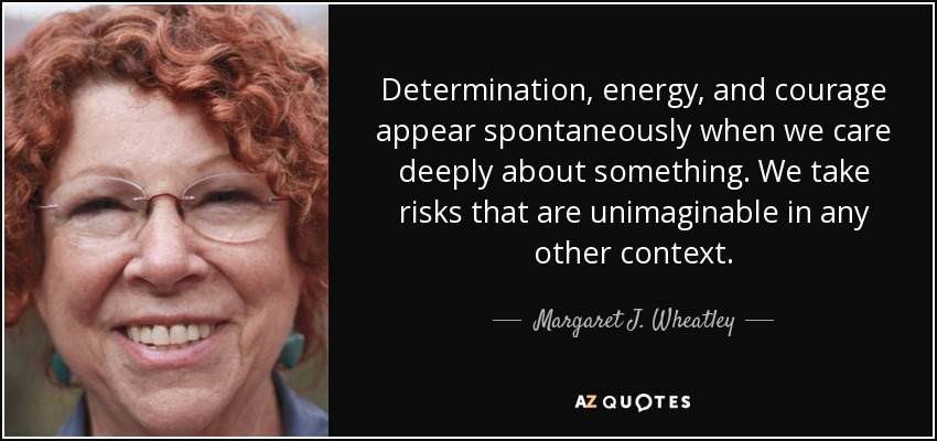 Determination, energy, and courage appear spontaneously when we care deeply about something. We take risks that are unimaginable in any other context. - Margaret J. Wheatley