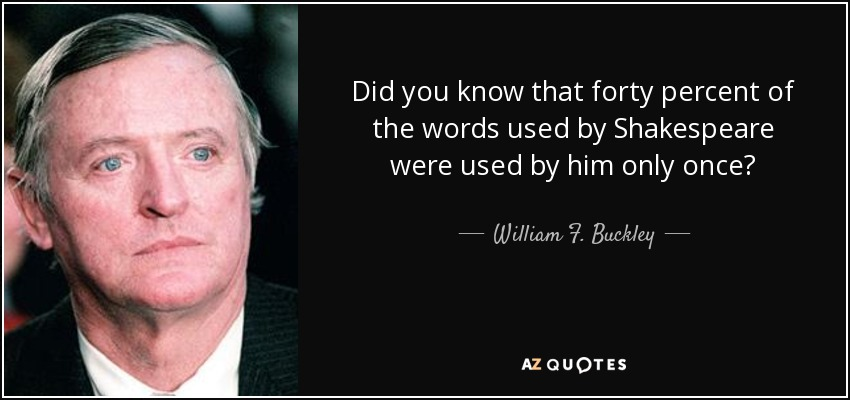 Did you know that forty percent of the words used by Shakespeare were used by him only once? - William F. Buckley, Jr.
