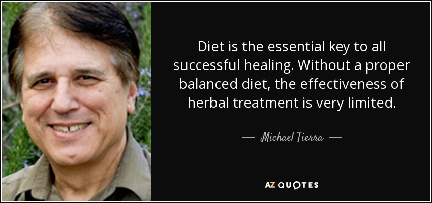 Diet is the essential key to all successful healing. Without a proper balanced diet, the effectiveness of herbal treatment is very limited. - Michael Tierra