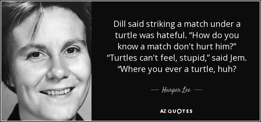 "Dill said striking a match under a turtle was hateful. ""How do you know a match don't hurt him?"" ""Turtles can't feel, stupid,"" said Jem. ""Where you ever a turtle, huh? - Harper Lee"