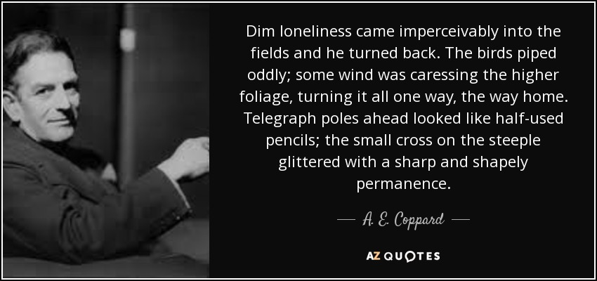 Dim loneliness came imperceivably into the fields and he turned back. The birds piped oddly; some wind was caressing the higher foliage, turning it all one way, the way home. Telegraph poles ahead looked like half-used pencils; the small cross on the steeple glittered with a sharp and shapely permanence. - A. E. Coppard