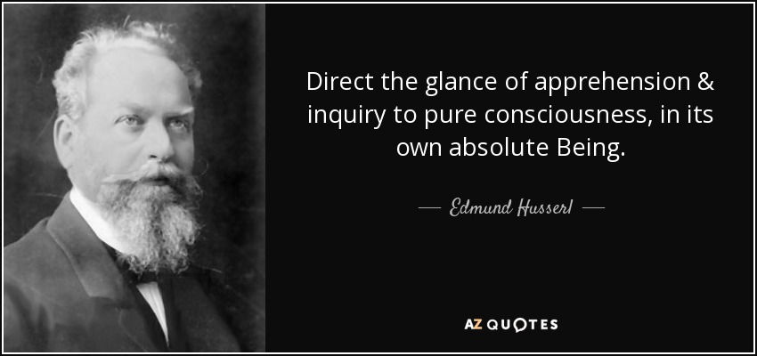 Direct the glance of apprehension & inquiry to pure consciousness, in its own absolute Being. - Edmund Husserl