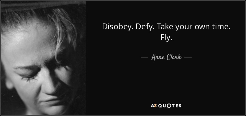 Disobey. Defy. Take your own time. Fly. - Anne Clark