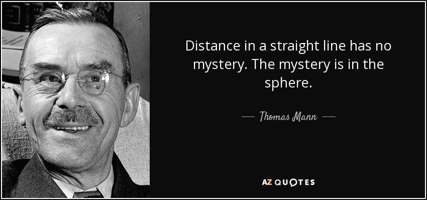 Distance in a straight line has no mystery. The mystery is in the sphere. - Thomas Mann