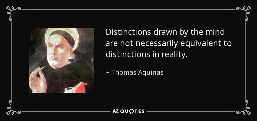 Distinctions drawn by the mind are not necessarily equivalent to distinctions in reality. - Thomas Aquinas