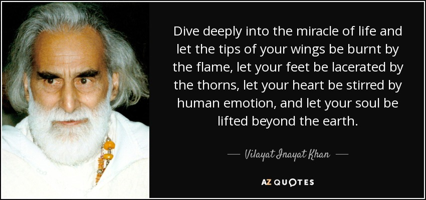 Dive deeply into the miracle of life and let the tips of your wings be burnt by the flame, let your feet be lacerated by the thorns, let your heart be stirred by human emotion, and let your soul be lifted beyond the earth. - Vilayat Inayat Khan