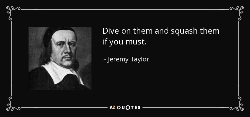 Dive on them and squash them if you must. - Jeremy Taylor