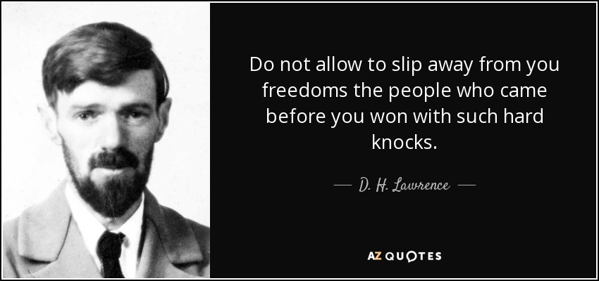 Do not allow to slip away from you freedoms the people who came before you won with such hard knocks. - D. H. Lawrence