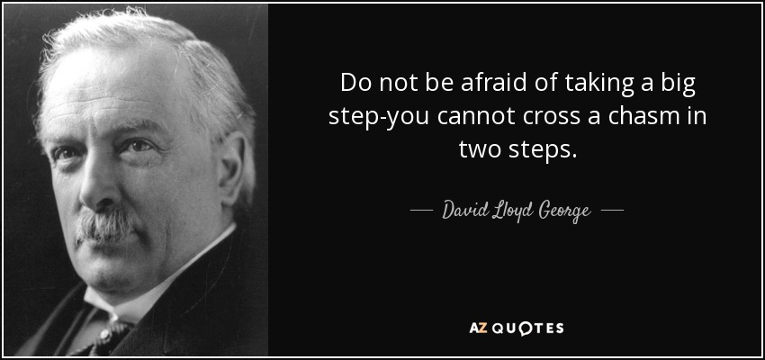 Do not be afraid of taking a big step-you cannot cross a chasm in two steps. - David Lloyd George